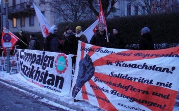 В Берлине прошел митинг на поддержку преследуемых властями Казахстана журналистов и гражданских активистов