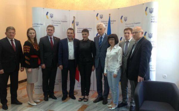 Освобожденная Савченко в Варшаве. Встреча с представителями Фундации «Открытый Диалог»