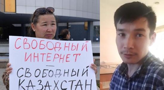 Задержанные активисты Анна Шукеева и  Жанибек Жунусов. Фото из Facebook-страниц.