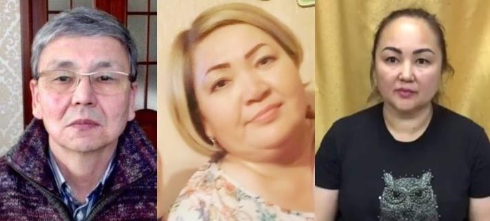Активисты Серик Жахин, Гульмира Калыкова и Акмарал Керимбаева. Фото из личных архивов активистов