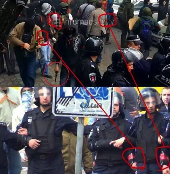 Также по сведениям очевидцев, милиционеры передавали провокаторам свои щиты.